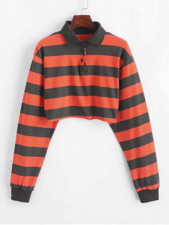 affordable Contrast Striped Crop Half Button Sweatshirt - MULTI-C S
