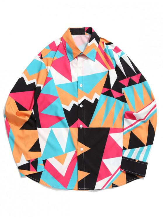 womens Geometric Color Blocking Spliced Print Curved Hem Shirt - MULTI XL