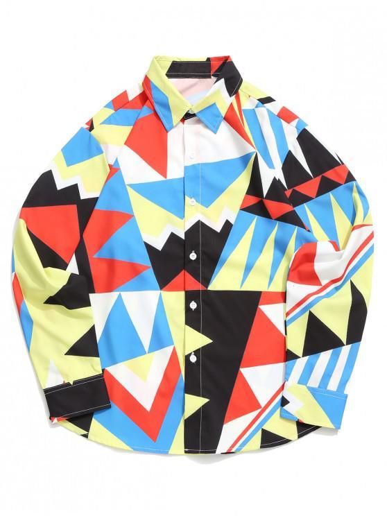 ladies Geometric Color Blocking Spliced Print Curved Hem Shirt - MULTI-A S