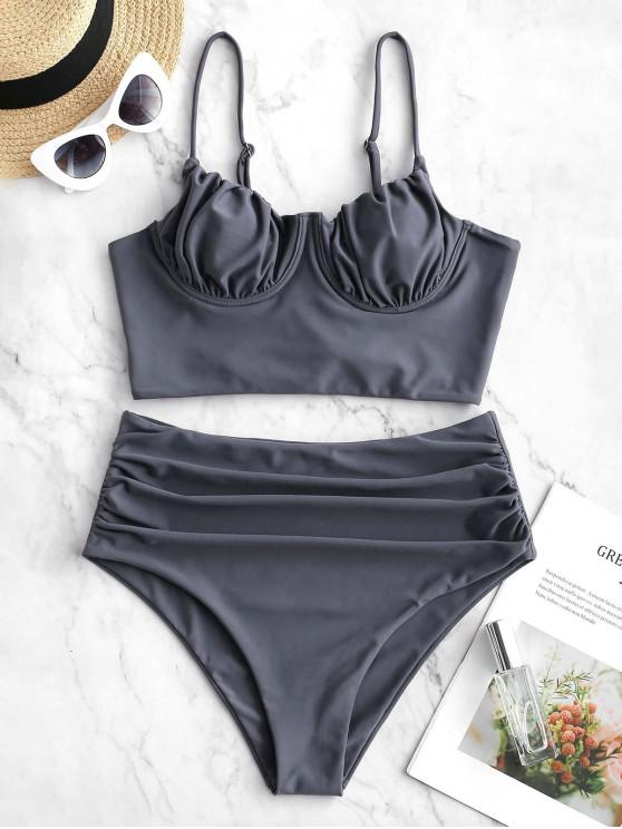 outfit ZAFUL Lace-up Ruched Underwire Tankini Swimsuit - SLATE BLUE S