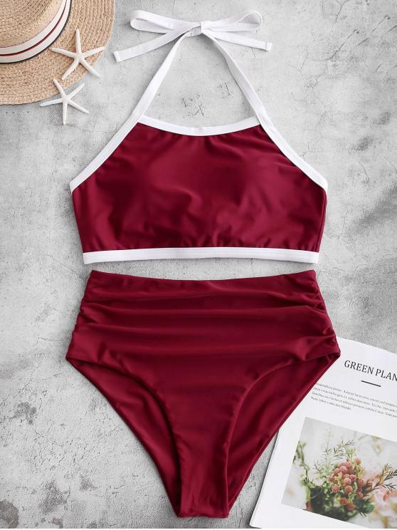 trendy ZAFUL Contrast Piping Halter Tummy Control Tankini Swimsuit - RED WINE L