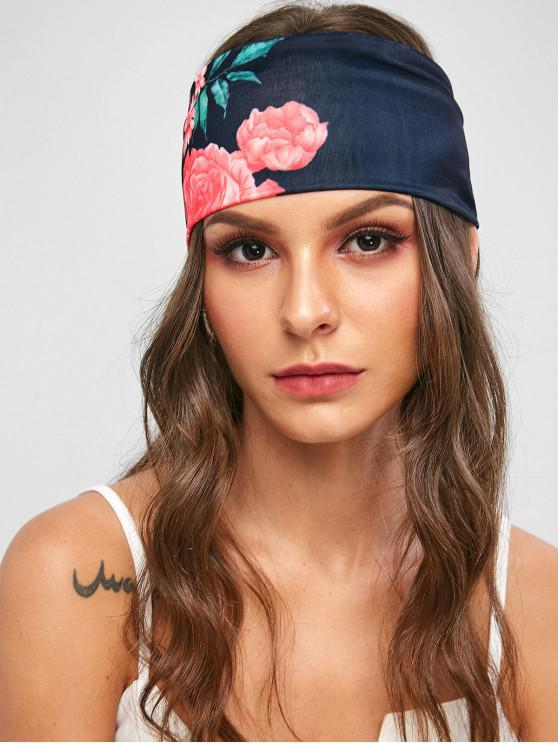 outfit Floral Print Headband - BLACK ONE SIZE
