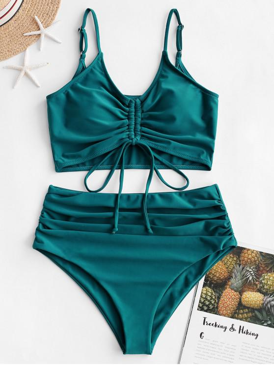 fashion ZAFUL Cinched Ruched Tankini Swimsuit - PEACOCK BLUE M