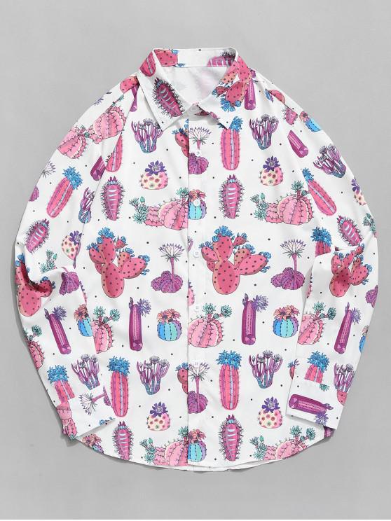 Cactus y flor Allover de manga larga Camisa de las vacaciones - Multicolor 2XL