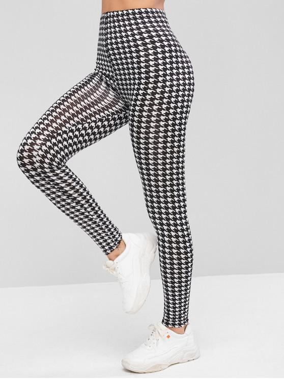 buy Houndstooth Print High Waist Leggings - MULTI-A ONE SIZE