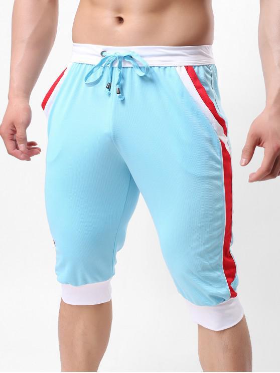 اللون كتلة Pointelle الرباط سروال كابري عداء ببطء - أزرق فاتح XL
