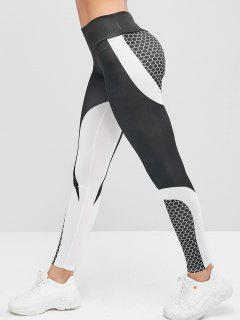 Two Tone Honeycomb Workout Gym Leggings - Black S