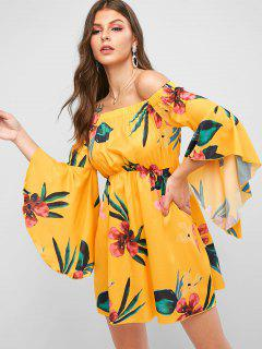 ZAFUL Floral Flare Sleeve Off The Shoulder Dress - Goldenrod L