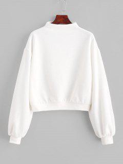 ZAFUL Pullover Mock Neck Plain Sweatshirt - Milk White L