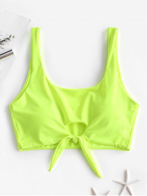 new ZAFUL Keyhole Tied Tank Bikini Top - GREEN YELLOW XL Mobile