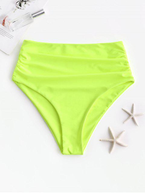women's ZAFUL High Waisted Tummy Control Bikini Bottom - GREEN YELLOW L Mobile