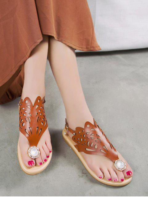 trendy Hollow Out Faux Pearl Floral Thong Sandals - BROWN EU 40 Mobile