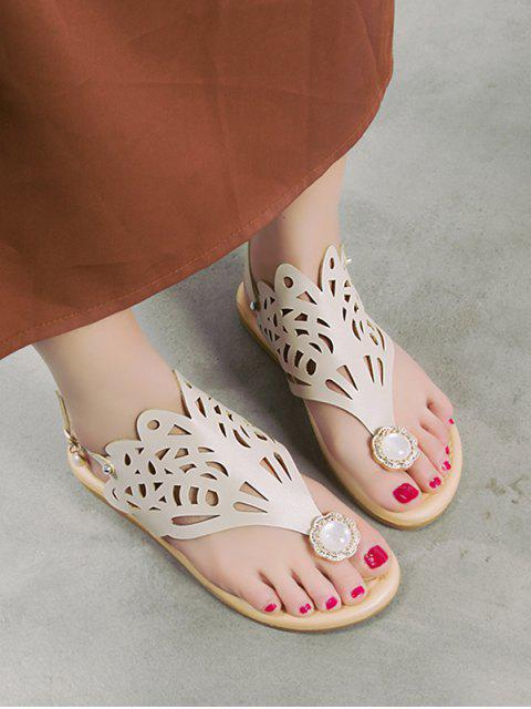women Hollow Out Faux Pearl Floral Thong Sandals - WHITE EU 39 Mobile