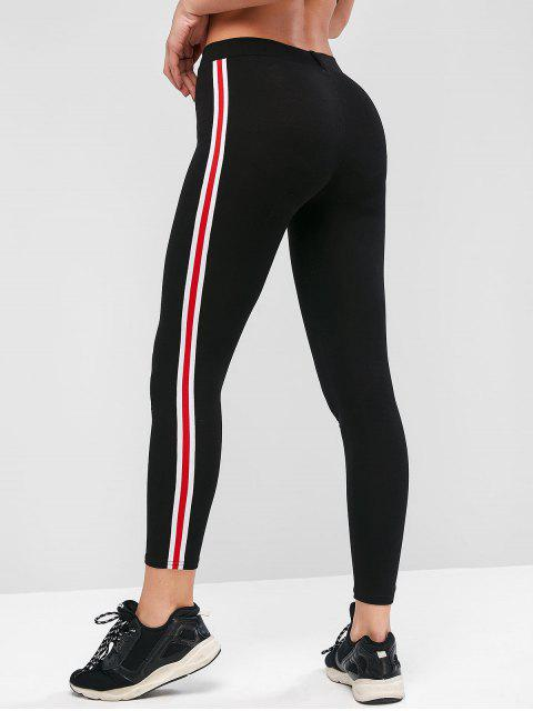 outfit Side Striped Patched Capri Leggings - BLACK ONE SIZE Mobile