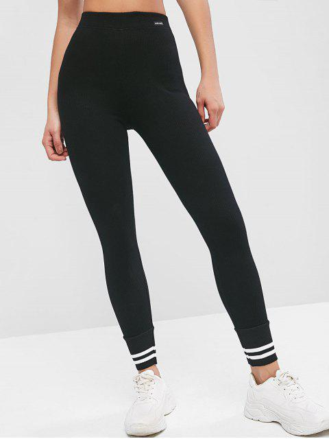 fancy High Waisted Ribbed Stripes Panel Leggings - BLACK ONE SIZE Mobile