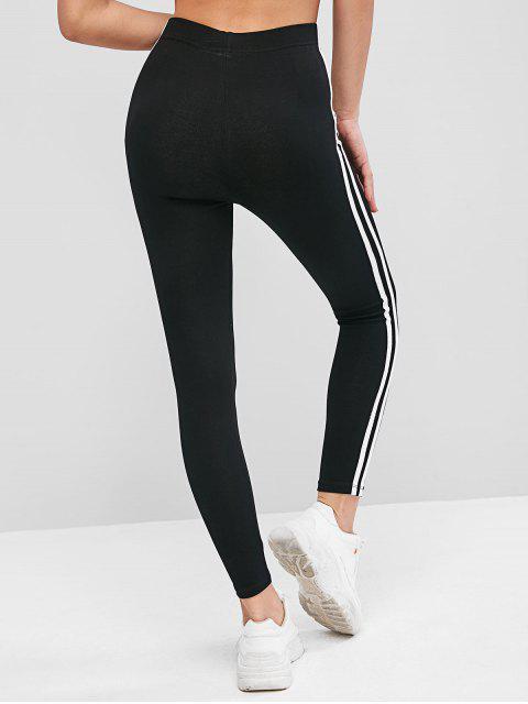 unique Stripe Tape High Waisted Stretchy Leggings - BLACK L Mobile