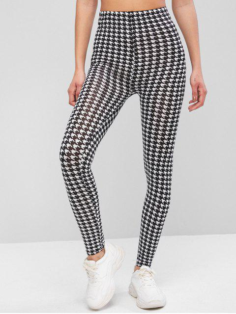 buy Houndstooth Print High Waist Leggings - MULTI-A ONE SIZE Mobile
