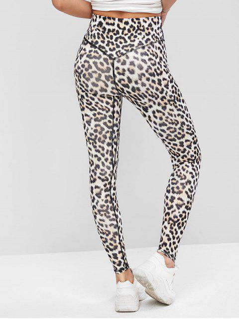 sale Leopard Animal Print Wide Waistband High Rise Leggings - LEOPARD M Mobile