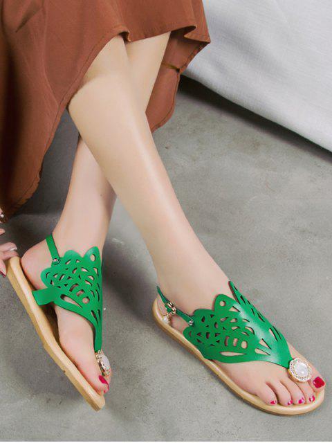 shop Hollow Out Faux Pearl Floral Thong Sandals - DEEP GREEN EU 37 Mobile