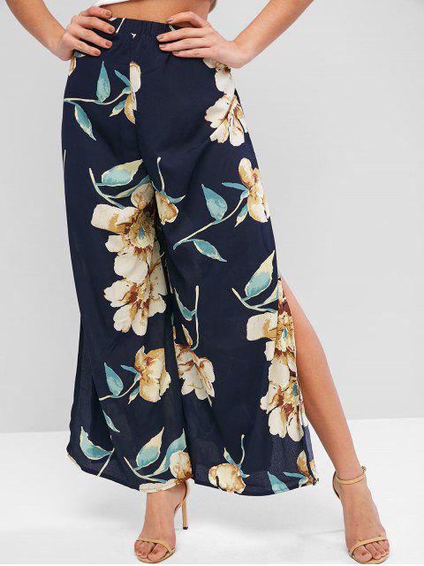 sale High Waisted Slit Floral Wide Leg Pants - BLUE M Mobile