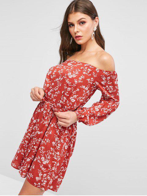 ZAFUL Robe Fleurie Imprimée à Epaule Dénudée à Volants - Châtaigne Rouge XL Mobile