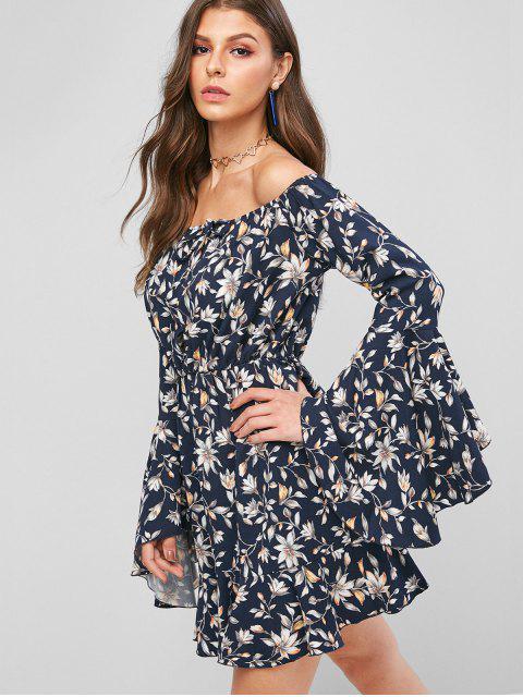 Vestido de línea de cintura alta con manga de mariposa de flores ZAFUL - Cadetblue XL Mobile