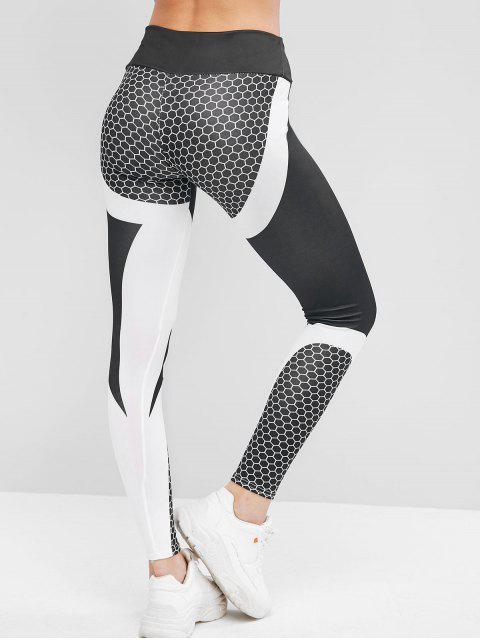Legging de dos tonos para ejercicios de gimnasia en nido de abeja - Negro M Mobile