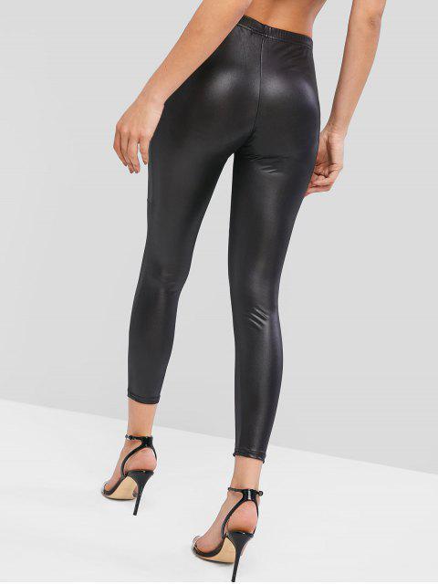 fashion High Waisted Faux Leather Plain Leggings - BLACK M Mobile