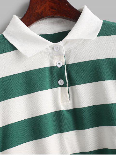 fashion Contrast Striped Crop Half Button Sweatshirt - MULTI-A M Mobile