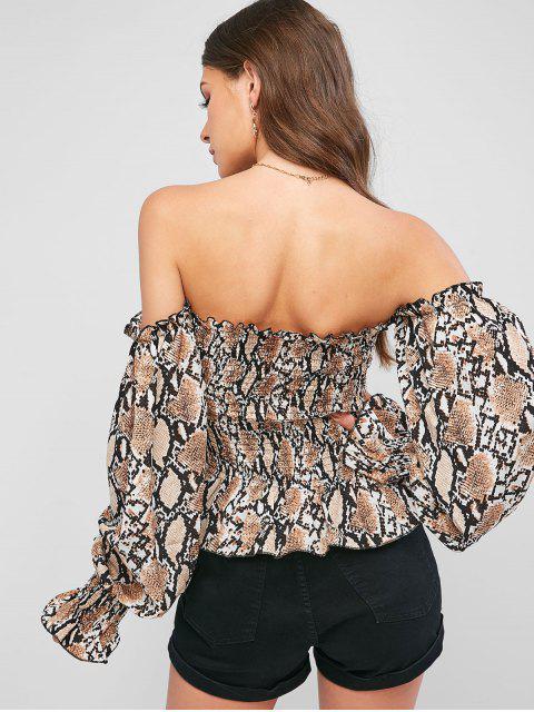 chic Snake Print Smocked Off Shoulder Blouse - MULTI M Mobile