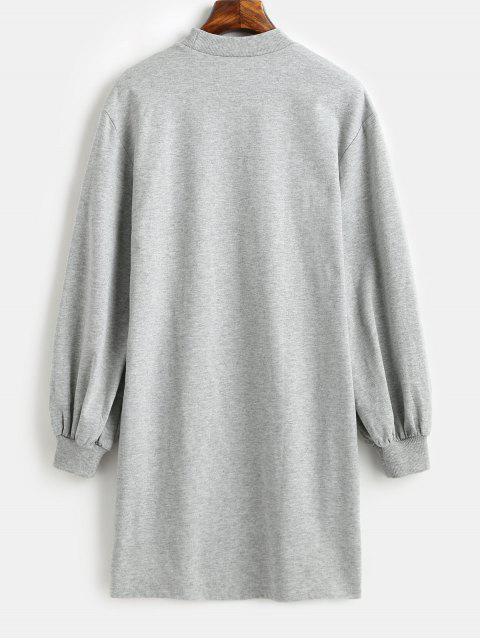 shop ZAFUL Mock Neck Long Sleeve Shift Sweatshirt Dress - BATTLESHIP GRAY S Mobile