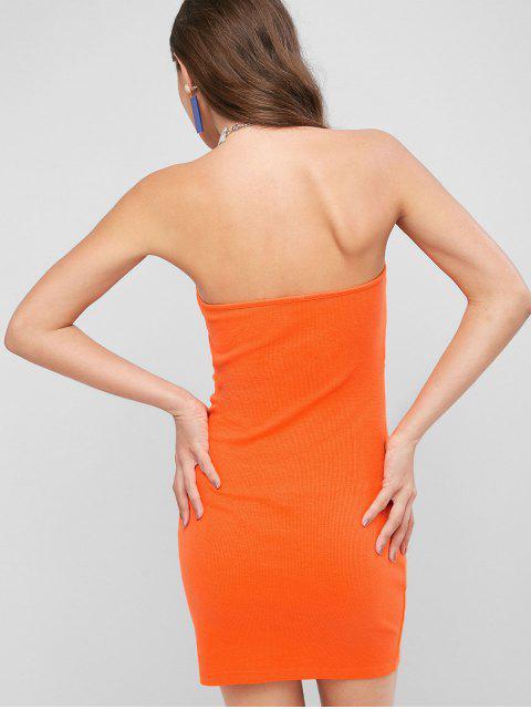 Mini-Robe Bandeau à Volants avec Trou de Serrure - Orange Citrouille S Mobile