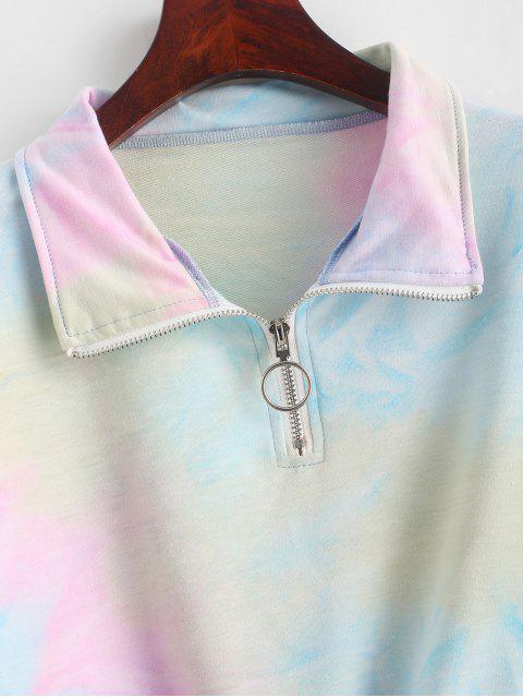 ZAFUL Sudadera Recortada de Tie-dye con Media Cremallera - Multicolor-A M Mobile