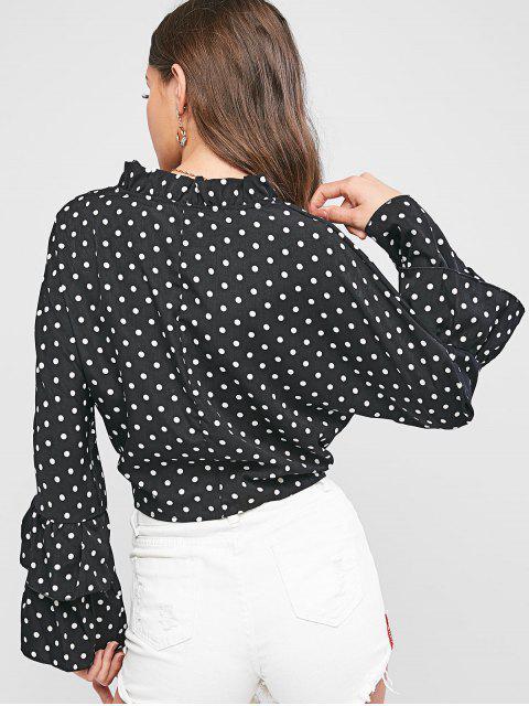 ladies Polka Dot Layered Ruffle Sleeve Tie Hem Cropped Blouse - BLACK M Mobile