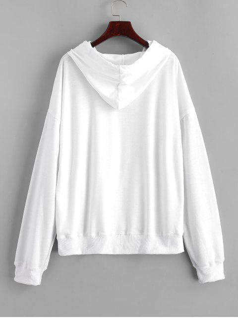 Sudadera con capucha y cordón bordado en la parte delantera con bolsillo de mariposa - Blanco S Mobile