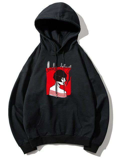 online Smoking Girl Print Hoodie - BLACK S Mobile