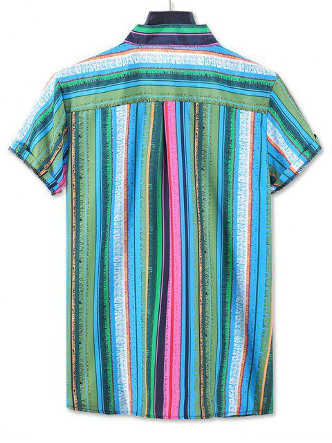 Camisa de manga corta con estampado de rayas de colores - Verde 2XL Mobile