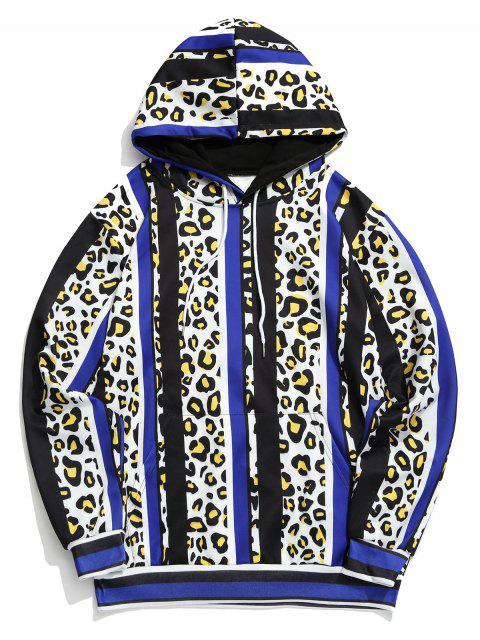 豹紋色塊條紋印花連帽衫 - 多 3XL Mobile
