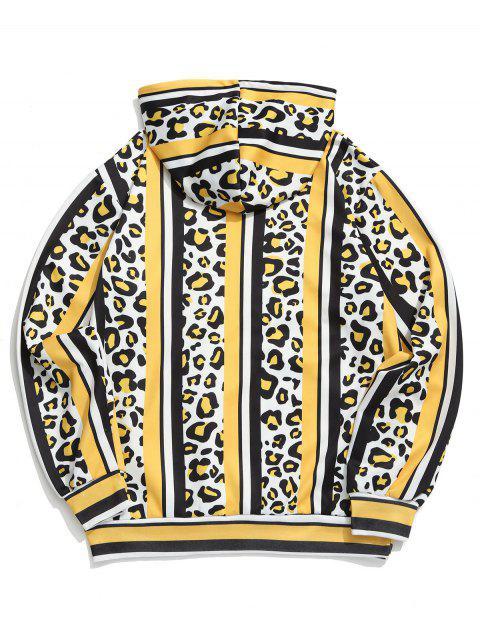 豹紋色塊條紋印花連帽衫 - 多-C 3XL Mobile