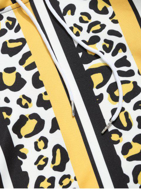 豹紋色塊條紋印花連帽衫 - 多-C 2XL Mobile