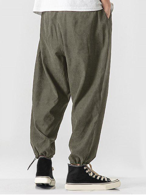 womens Solid Color Back Faux Pocket Applique Casual Pants - ARMY GREEN M Mobile