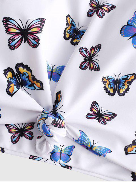 Bañador Tankini de talle alto anudado con estampado de mariposa ZAFUL - Multicolor-A S Mobile