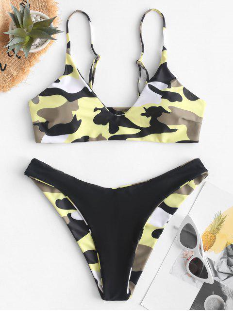 ZAFUL Maillot de Bain Bikini Réversible Camouflage à Coupe Haute - Camouflage des Bois L Mobile