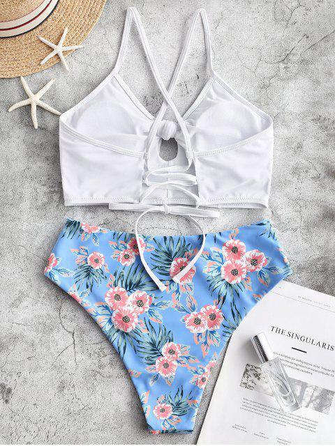 Traje de baño Tankini con cordones y lazo de flores de ZAFUL - Multicolor-A S Mobile