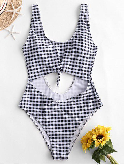 online ZAFUL Plaid Knotted Cut Out One-piece Swimsuit - BLACK L Mobile