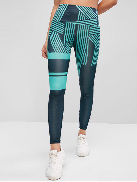 women's High Waisted Striped Skinny Leggings - LIGHT SEA GREEN M Mobile