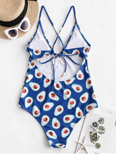 Bañador de una pieza con estampado de frutas ZAFUL - Azul de Arándanos XL Mobile