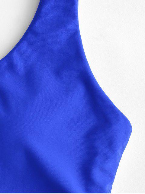 ZAFUL traje de baño Tankini de cintura alta con lazo arcoíris - Azul Cobalto XL Mobile
