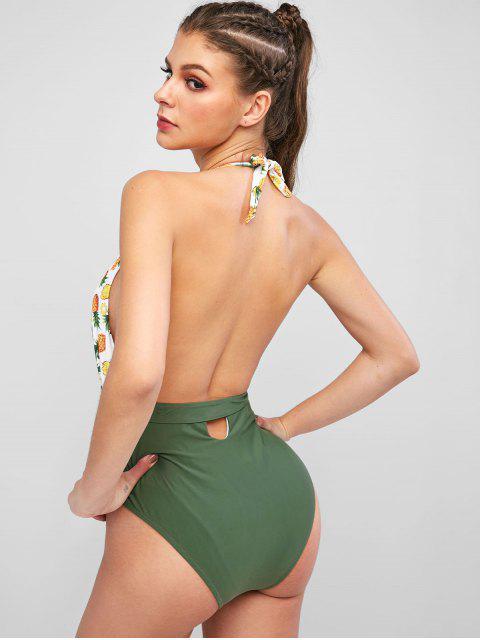 ZAFUL traje de baño de una pieza sin espalda halter de piña - Multicolor-A L Mobile