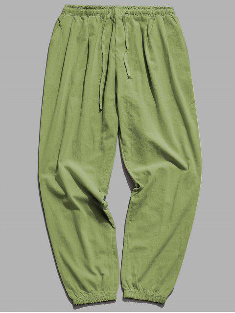 純色運動休閒慢跑褲 - 軍綠色 XL Mobile